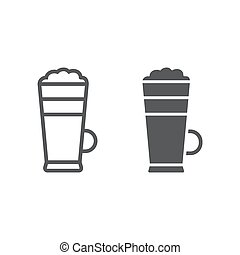 Macchiato line and glyph icon, coffee and cafe, cream coffee sign vector graphics, a linear pattern on a white background, eps 10.