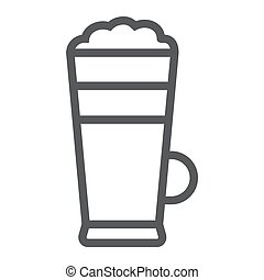 Macchiato line icon, coffee and cafe, cream coffee sign vector graphics, a linear pattern on a white background, eps 10.