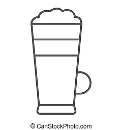 Macchiato thin line icon, coffee and cafe, cream coffee sign vector graphics, a linear pattern on a white background, eps 10.