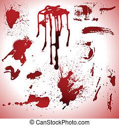 macchie, gocce, sangue, vectors