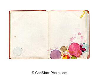 macchie, libro, vecchio, vernice