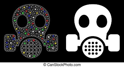 macchie, maschera, bagliore, gas, icona, rete, maglia