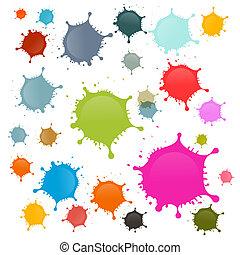 macchie, set, colorito, isolato, vettore, schizzi, fondo, blots, bianco