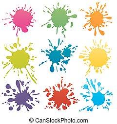 macchie, vettore, colorito, inchiostro, set