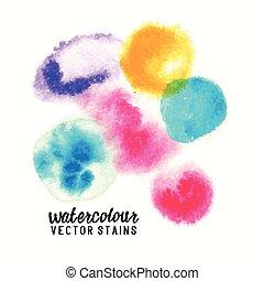macchie, vettore, watercolour