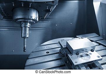 macchina, 5-axis, macinatura, cnc