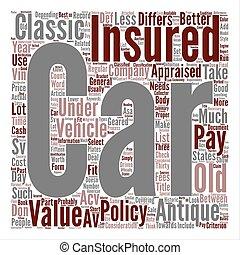 macchina antica, assicurazione, parola, nuvola, concetto, testo, fondo