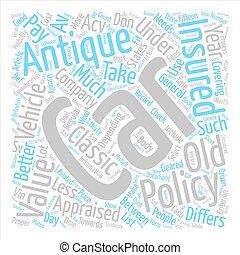 macchina antica, assicurazione, testo, fondo, parola, nuvola, concetto