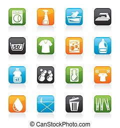 macchina, bucato, lavaggio, icone