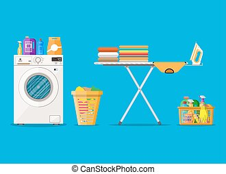 macchina, bucato, lavaggio, stanza