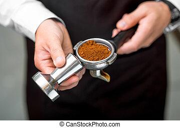 macchina, caffè, supporto, presa a terra