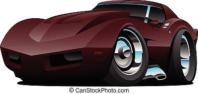 macchina classica, anni settanta, isolato, illustrazione, sport, americano, vettore, cartone animato