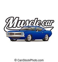 macchina classica, t-shirt, vettore, manifesto, stampa, muscolo, cartone animato