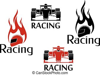 macchina correndo, e, motorsport, icone