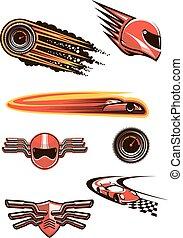 macchina correndo, e, motorsport, simboli