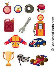 macchina correndo, f1, set, icona, cartone animato