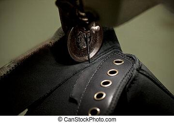 macchina, cucitura, calzatura