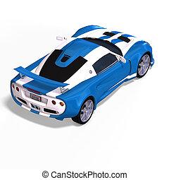 macchina da corsa, fantasia, blu, bianco