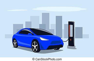 macchina elettrica, pubblico, carica, elettricità, stazione, city., digiuno, illustration., potere, transport., vettore