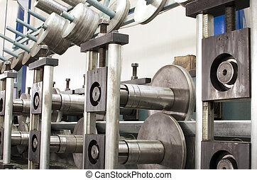macchina, foglio, produzione, metallo, profili