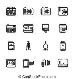 macchina fotografica, accessori, icone