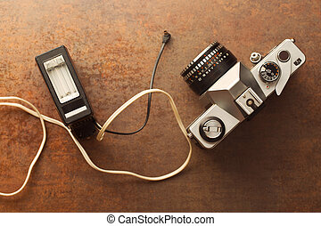 macchina fotografica, analogue, lampo, vecchio