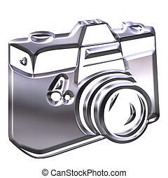 macchina fotografica, argento, 3d