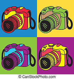 macchina fotografica, arte, pop