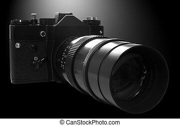 macchina fotografica, b&w, retro, slr