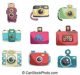 macchina fotografica, cartone animato, icona