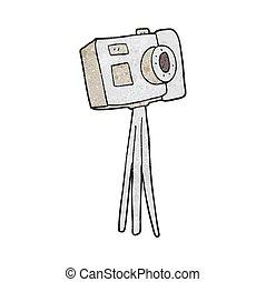 macchina fotografica, cartone animato, treppiede, textured