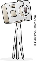 macchina fotografica, cartone animato, treppiede