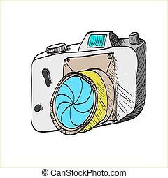 macchina fotografica, cartone animato