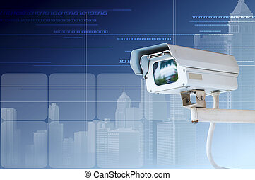 macchina fotografica cctv, fondo, digitale, sicurezza, o