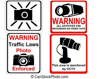 macchina fotografica, cctv, segni