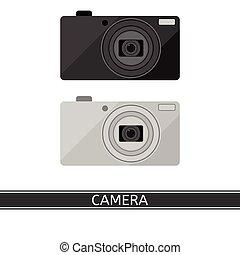 macchina fotografica compatta, isolato, digitale