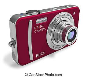 macchina fotografica compatta, rosso, digitale