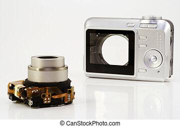 macchina fotografica compatta, smontato
