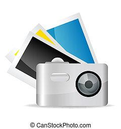 macchina fotografica, con, immagini