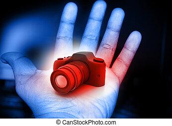 macchina fotografica digitale, in, mano umana