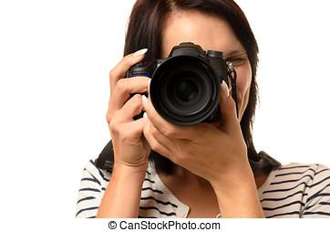 macchina fotografica, donna, su, indicare, chiudere