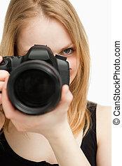 macchina fotografica, donna, su, tenere