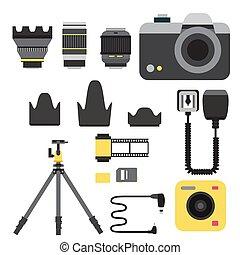 macchina fotografica, foto, vettore, studio, icone, ottico,...