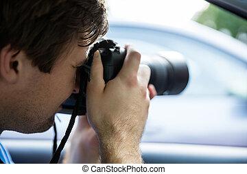 macchina fotografica, fotografare, slr, uomo