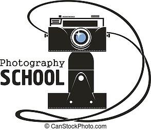 macchina fotografica, fotografia, vettore, scuola, icona