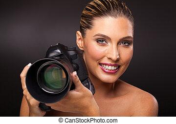 macchina fotografica, holding donna, slr, digitale