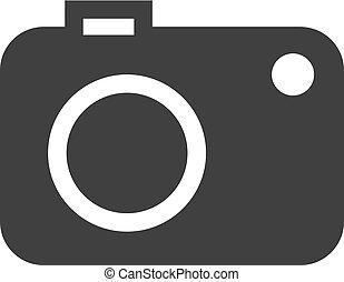 macchina fotografica, icona, in, nero, su, uno, bianco, fondo., vettore, illustrazione