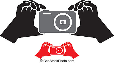 macchina fotografica, icona, mani
