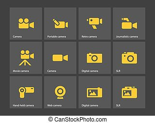 macchina fotografica, icons.