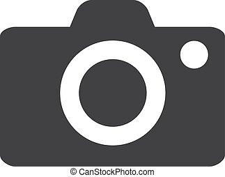 macchina fotografica, illustrazione, fondo., vettore, nero, bianco, icona